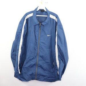Vintage Nike Swoosh Logo Windbreaker Jacket Blue